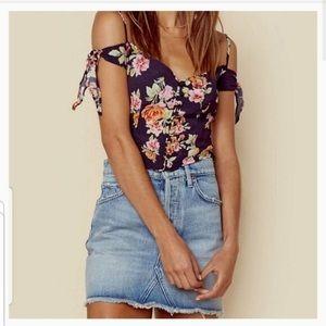 Flynn Skye Bisho Crop Top Button Shoulder Bloom XS